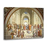 TORASS Canvas Wall Art Print Athens Raphael School of Philosophy Fine Famous Painting Artwork for Home Decor 12' x 16'