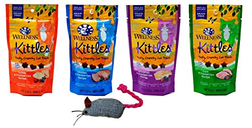 Wellness Kittles Grain Free Cat Treats 4 Flavor with Toy Bundle, (1) Each: Turkey, Whitefish, Duck and Chicken, 2 (Flavors Extract Assortment)
