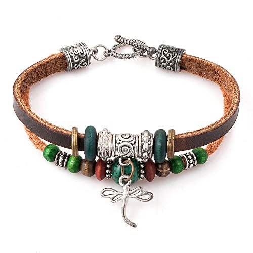 (Leather Bracelets for Women Dragonfly or Heart or Elephant Bracelet Braided Rope Wood Beads Bracelets (dragonfly))