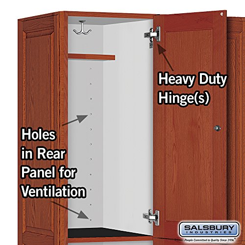 Salsbury Industries 2-Tier Solid Oak Executive Wood Locker with Three Wide Storage Units, 6-Feet High by 21-Inch Deep, Medium Oak by Salsbury Industries (Image #4)