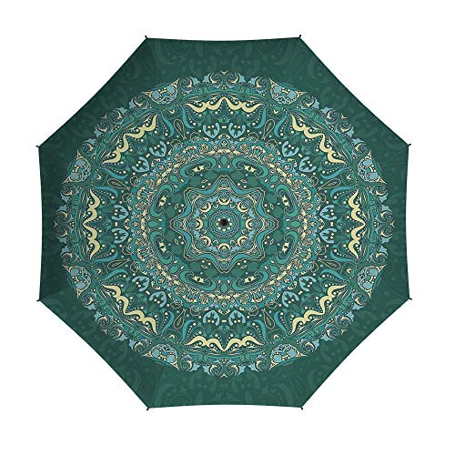 Folding Umbrella,Mandala Decor,Auto Open Close Umbrella 42 Inch,Religious Eastern Ancestral Circle Form with Swirling Leaves Revival Retro Design