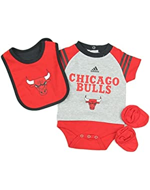 Chicago Bulls Adidas Infants NBA Gray Red Little Player Baby Creeper, Bib & Bootie Set
