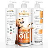Premium Wild Alaskan Salmon Oil For Dogs and Cats - All Natural Fish Oil Dogs Love Rich In Omega 3 and 6 - Healthy Skin Coat Heart & Immune System - Liquid Pet Supplement - 16 OZ - 100% Satisfaction