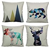 Nordic Geometric Animals Throw Pillow Covers Case Decorative Outdoor Cushion Retro Home Decor 18X18 Set of 4 Cotton Linen for Couch Sofa Bed Room,Mountains,Deer,Reindeer,Bear