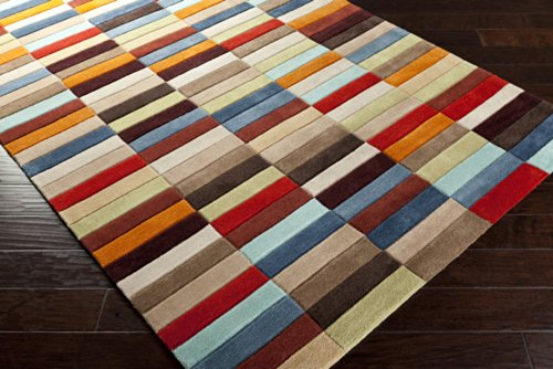 Surya Cosmopolitan COS-9092 Contemporary Hand Tufted 100% Polyester Bronze 2'6'' x 8' Geometric Runner by Surya