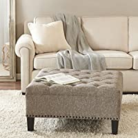Lindsey Tufted Square Cocktail Ottoman Taupe See below