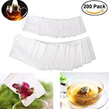 OUNONA 200pcs Drawstring Tea Bag Filter Paper Empty Tea Pouch Bags for Loose Leaf Tea Powder Herbs 2 different sizes(3.5in*2.8in and 2.8in*2.2in)