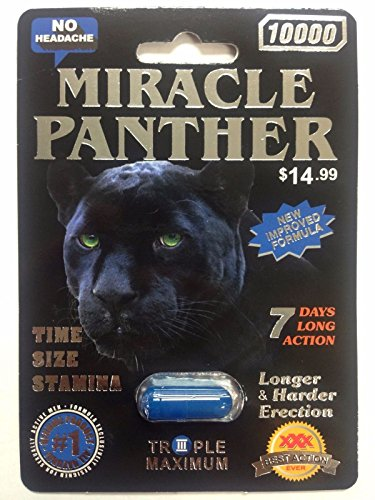 MIRACLE PANTHER 10000 Triple Max Male Sexual Enhancement 6 Pills 7 DAYS (Panther Pill)