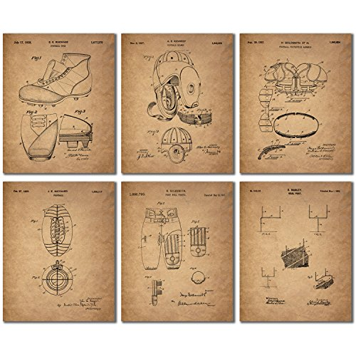 Football Patent Wall Art Prints - Set of Six Vintage Photos