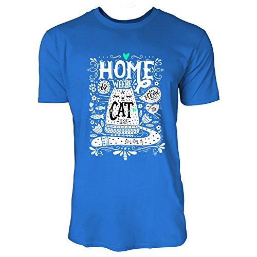 SINUS ART® Home Where A Cat Is Herren T-Shirts in Blau Fun Shirt mit tollen Aufdruck