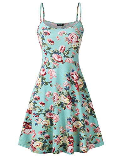 (FINMYE Womens Sleeveless Floral Printed Swing Sundress Spaghetti Strap Dresses (Small, Green)