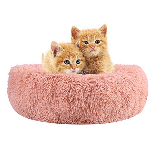 QCHOMEE Soft Plush Round Pet Bed Donut Cuddler Cozy Calming Cat Bed...