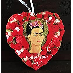 Frida Kahlo Valentine Ornament, Handcrafted Wood, Gift for Artist, Girlfriend Wife Gift, Mexican Painting, Woman Self-Portrait Valentine Card