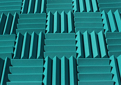 Wedge Style Acoustic Foam Panels 2 Pack - 12in x 12in x 3 Inch Thick Tiles - Soundproofing Acoustic Studio Foam - Teal Color