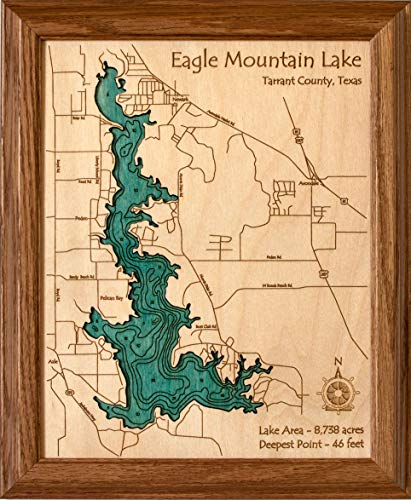 Long Lake Lifestyle Cedar Creek Reservoir - Franklin County - AL - 2D Map 8 x 10 in (Honey Oak Frame) - Laser Carved Wood Nautical Chart and Topographic Depth ()