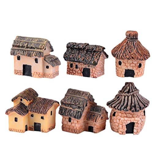AOWA 6PCS Mini Thatched House Ornaments DIY Dollhouse Micro Craft Landscape Decor(Color ()