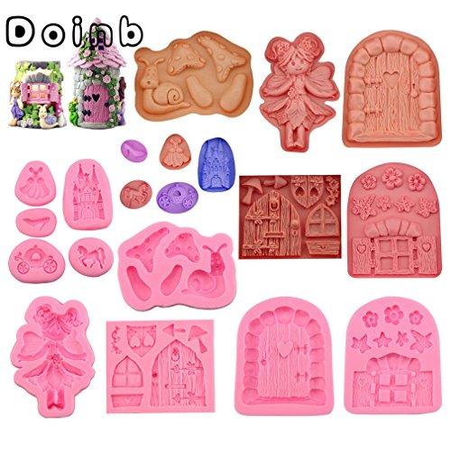 Doinb 10pcs/Set Castle Coach Dress Glass Slipper Horse Angel Girls Fairy Doors Window Flowers Snail Cake Pastry Fondant Moulds