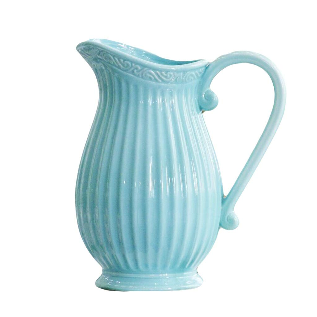 LIULIJUN 花瓶ブルー玉ヨーロッパクリエイティブミルク水差し花瓶地中海ブルーホワイトリビングルームドライフラワーフラワーアレンジメントホームデコレーション装飾品 (Color : Blue) B07T7F3C1N Blue