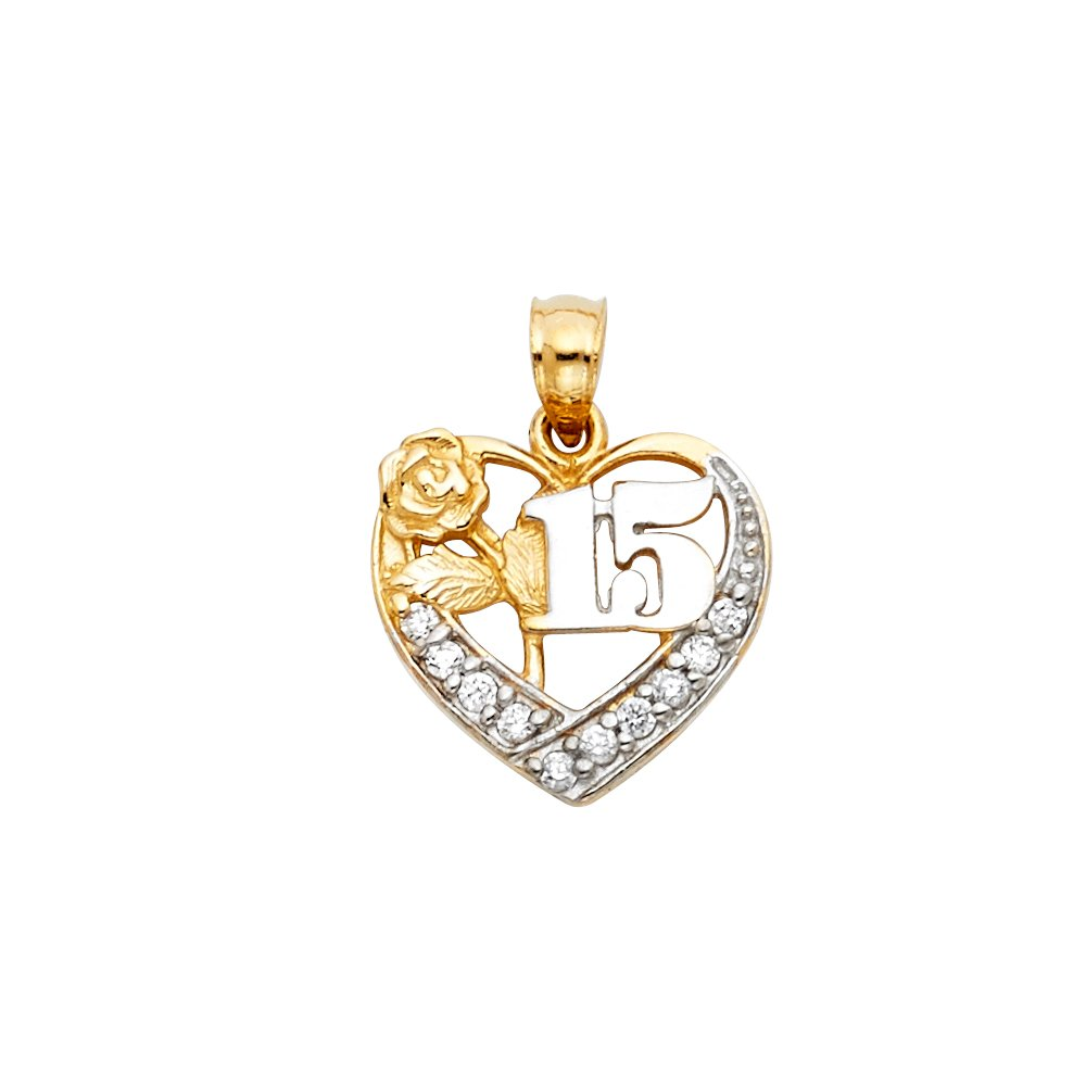 Million Charms 14K Two-Tone Gold with White CZ Accented 15 Years Birthday or Anniversary Heart Charm Pendant with 18 Rolo Chain 20mm x 15mm