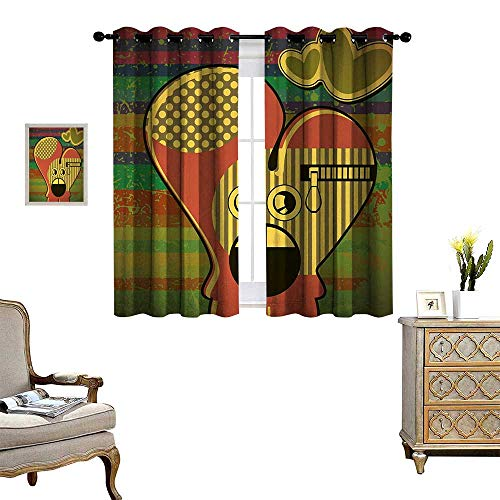 Anyangeight Modern Window Curtain Drape Cute Monster on Grunge Striped Backdrop with Zipped Head Heart Graphic Decorative Curtains for Living Room W63 x L63 Yellow Coral Olive - Head Seminole Heart