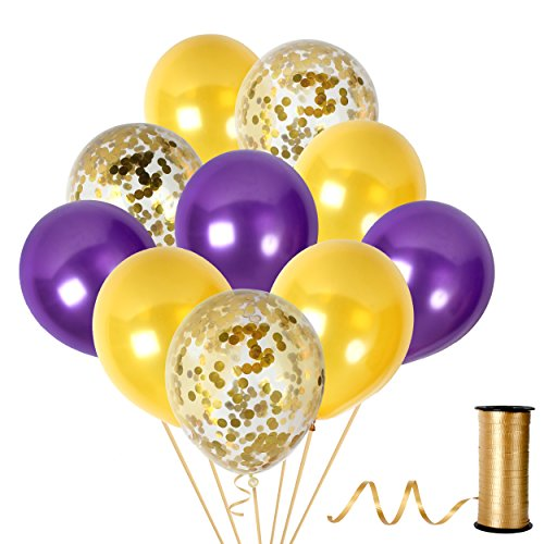 Confetti Balloons Purple and Gold Birthday Party Decorations Violet Bridal Backdrop Supplies for Christmas Valentines Birthday or Wedding ()