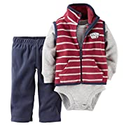 Carter's Baby Boys' 3 Piece Striped Fleece Vest Set (Baby) - Red - 3 Months