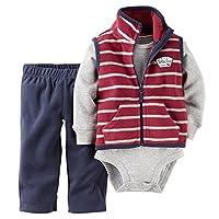 Carter's Baby Boys' 3 Piece Striped Fleece Vest Set (Baby) - Red - 3 Months