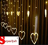 Satyam Kraft Heart Shape Acrylic Light Curtain for Decoration , Yellow