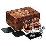 Whiskey Glass Set of 2 - Whiskey Stones Gift Set - Scotch Bourbon...