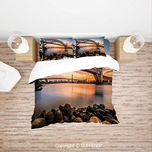 SCOXIXI Bed Cover Set Sunset Evening View Picture Hell Gate and Triboro Bridge Astoria Queens America (Comforter Not Included) Soft, Breathable, Hypoallergenic, Fade ()