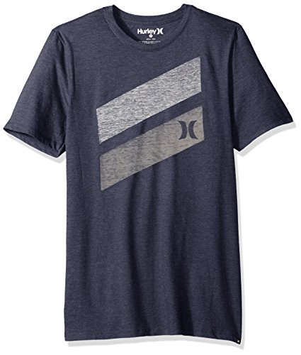 Hurley Men's Apparel Men's Premium Icon Slash Graphic Short Sleeve Tee Shirt, Obsidianheather, L (Hurley Icon)
