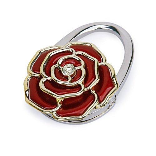 f-eshion Rose Blume faltbar Handtaschenhalter Halter Tisch Haken (Rosa)