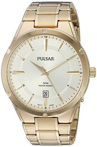 Pulsar-Mens-Quartz-Stainless-Steel-Casual-Watch-ColorGold-Toned-Model-PS9524