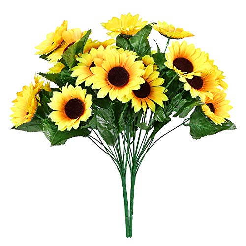 NDakter Artificial Sunflowers, 2 Bundles 14 Head Artificial Flowers Silk Sunflowers Plastic Plants Indoor Outdoor Home Kitchen Office Christmas Wedding Party Decoration