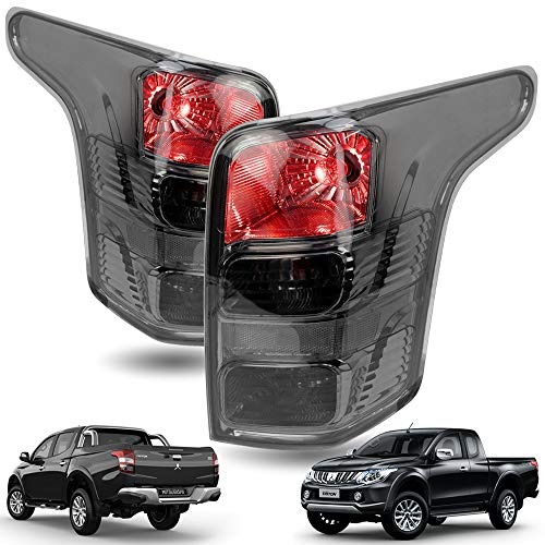 Powerwarauto Set Rear Black Smoke Lens Tail Lamp Light Taillamp Bulbs for Mitsubishi L200 Triton MQ 2WD 4WD UTE Pick-Up 2015 2016 2017 2018