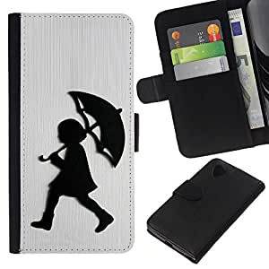 All Phone Most Case / Oferta Especial Cáscara Funda de cuero Monedero Cubierta de proteccion Caso / Wallet Case for LG Nexus 5 D820 D821 // Girl Rain White Brushed Metal