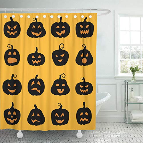 Ladble Waterproof Shower Curtain Curtains Orange Shape Halloween Jack O Lantern Silhouette Pumpkins Designs Different Facial Expressions Yellow 72