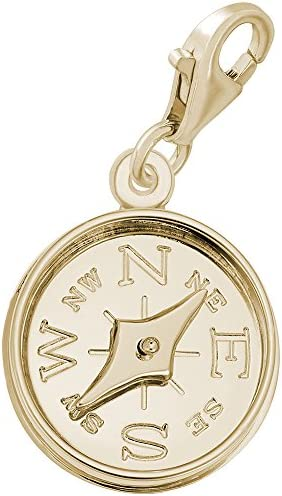 10k Yellow Gold Compass Charm With Lobster Claw Clasp Charms for Bracelets and Necklaces