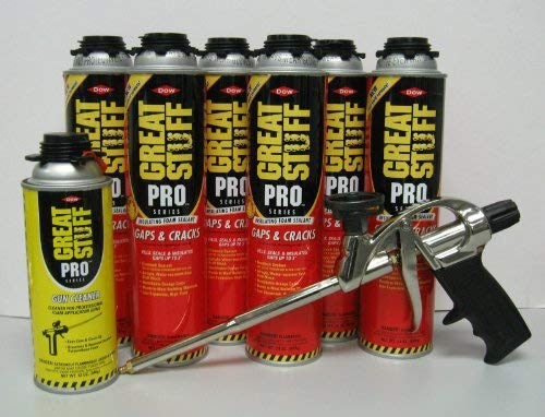 - Dow Pro Gaps and Cracks 24 oz Gun Foam (6) + Great Stuff Pro 14 Dispensing Gun (1)+Great Stuff Pro foam Gun Cleaner (1)