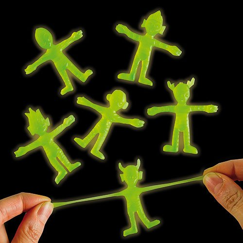 Glow in the Dark Stretchy Aliens 6 Assorted, Party Bag Fillers, Kid's Toys, Halloween - Pack of 6 (Cute Halloween Ideas For Kids)