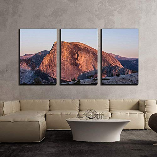 Anzona 3 Panel Canvas Wall Art Paintings, Mountain Landscape,Half Dome in Yosemite National Park, California,USA, Modern Home Decor Stretched and Framed Ready to Hang Wall Decor, 24''x32''x3 Panels