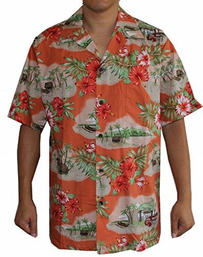 Men's Canoe Surf Shop Hawaiian Shirt (L, Coral)