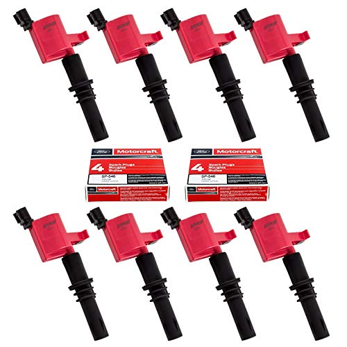 Set of 8 Motorcraft SP515 SP546 Spark Plugs and Red Straight Boot Ignition Coils DG511 for Ford Lincoln Mercury V8 V10 4.6l 5.4l 6.8l Compatible with 3L3E12A366CA 5C1584 C1541 FD-508 DG511 RED DG-511