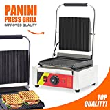 Panini Sandwich Press Grill | Commercial Use, Restaurant Grade | Durable Stainless Steel Construction with Adjustable Temperature Control ALDKitchen NP-589 (9 x 9)