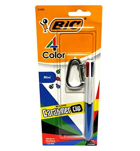 4 Pack Clip Pen - Bic 4 Color Fashion Mini Pen with Carabiner Clip (Blue)