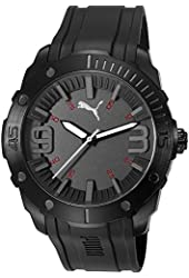 Puma PU103881001 Men's Stainless Steel Case Black Silicon Strap Grey Dial Black Watch