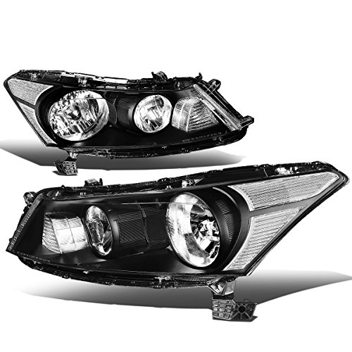 For Honda Accord 8th Gen Sedan Pair of OE Style Black Housing Clear Corner Headlight