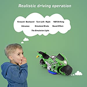 Zooawa Remote Control Motorbike, 2.4G RC 4D Motor Motion Sensing Autocycle Simulation Racing Moto Toy for Kids - Green