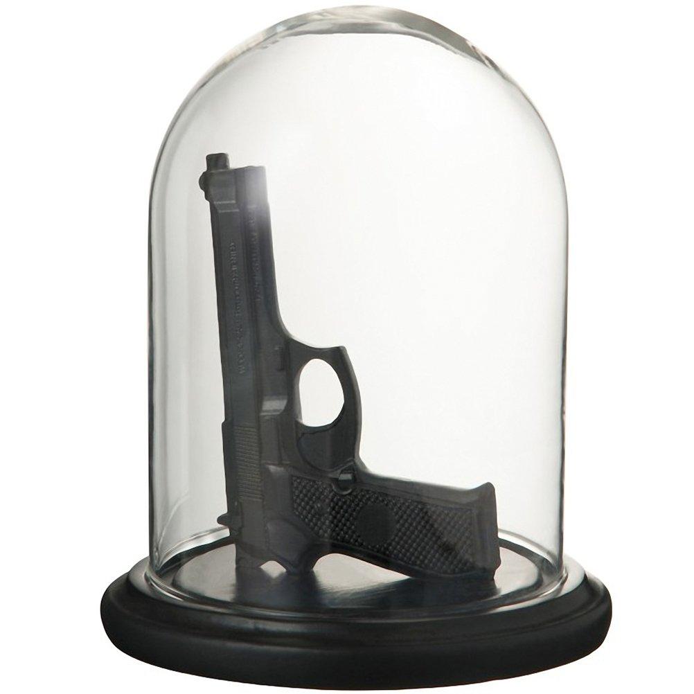 Goth, Skull and steampunk Campana de cristal con pistola de resina