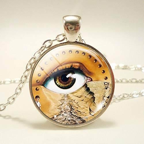 (Orange Stor3 Glass Locket Pendant Fashion Glass Dome Necklace Soft Watch at The Moment of Explosion Salvador Dali Art Painting Necklace Silver Plated Accessories)